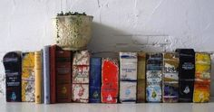Artist Transforms Old Bricks Into Classic Books - DesignTAXI.com  We just got in a handful of assorted bricks!!
