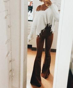 cd7a9935e4a flare pants and off the shoulder fringe sweater Flare Pants Outfit Boho