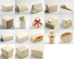 Ivory silk comes in an excellent selection of box shapes for making your wedding or party favours.