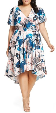 Find Eliza J Floral High/Low Faux Wrap Dress (Plus Size) online. Shop the latest collection of Eliza J Floral High/Low Faux Wrap Dress (Plus Size) from the popular stores - all in one Plus Size Wedding Guest Dresses, Plus Size Cocktail Dresses, Plus Size Party Dresses, Long Cocktail Dress, Plus Size Outfits, Wedding Dresses, Looks Plus Size, Look Plus, Curvy Fashion