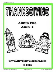 Thanksgiving Activity Pack, ages 3-6