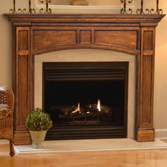 Pearl Mantels Vance Wood Fireplace Mantel Surround - Fireplace Surrounds at Hayneedle Wooden Fireplace Surround, Farmhouse Fireplace Mantels, Fireplace Mantel Surrounds, Build A Fireplace, Fireplace Hearth, Home Fireplace, Fireplace Design, Fireplace Ideas, Fireplace Facing