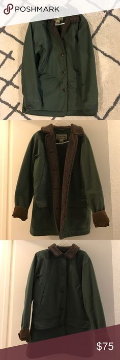 L.L. Bean Sherpa Lined Quality Button Down Jacket Forest green, brown Sherpa lining, four pockets, high quality L.L. Bean coat/jacket for autumn and winter. Like new condition, ready for years and years of adventures and life ahead. Marked as Women's size XS regular. L.L. Bean Jackets & Coats Utility Jackets