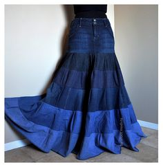 La Vie en Bleu - Long Tiered Bohemian Skirt, OOAK Blue Gradient skirt, Recycled Denim Gypsy Skirt - Size 8. $109.00, via Etsy.