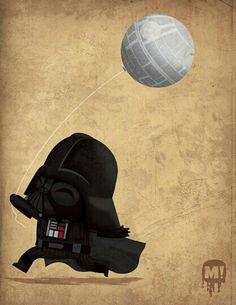 Mini Baby Vader w Death Star Balloon Art :D