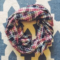 lightweight plaid scarf fringe on all sides, black, blue, yellow, and white plaid. Forever 21 Accessories Scarves & Wraps