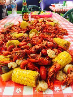 Cajun crawfish with corn, mushrooms, crab legs and shrimp
