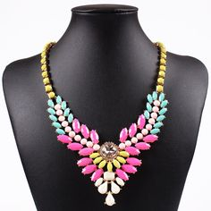 Stylish Alloy Exaggeration Colorful Resin Choker Necklace Inlaid Drill Women Ladies Jewelry Necklace