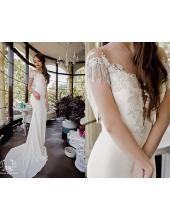 Elegante Hübsche Vintage Brautkleider aus Chiffon mit Applikation