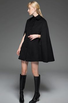 Black Wool Cape - Poncho Style Winter Woman's Coat Short Cloak Jacket with Front Button Closure C744