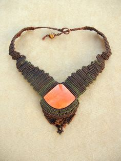 Alluring Jasper Necklace set in Brown Micro Macrame with Tiger Eye beads