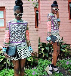 Sheinside Art Deco Dot Scarf Top, Beginning Boutique Polka Dot Skirt, Lavender Pastel Wedges, Vintage Chanel Chain Bag, Romwe Faux Prada Sunnies