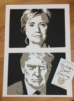 Papercut portrait for Clinton v Trump. This campaign will go down in history, not just the result!  For custom portraits contact Mrs Scuffer