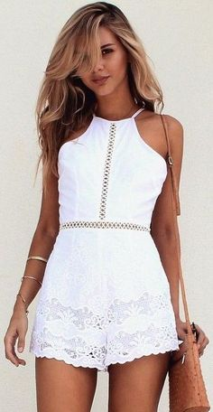#summer #musthave #outfits  White Sweet Jumpsuit