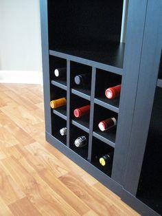 Ikea expedit wine storage by Hidden Peanuts, via Flickr