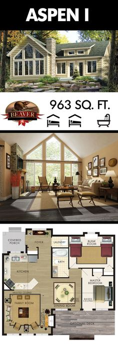 Enjoy stunning cottage sunsets from the bright, spacious family room of the Aspen I model from BeaverHomesAndCottages. If it had a half bath and full basement. Beaver Homes And Cottages, Cabins And Cottages, Small Cottages, Small Cabins, Br House, Tiny House Living, House Bath, Loft House, Living Room