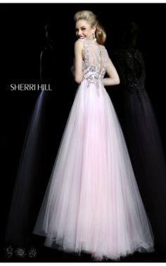 2014 A-Line Pink Sherri Hill Prom Dress Long 3885
