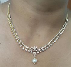 Diamond Necklaces for Women Grand occasions deserve the spectacular! Unveiling our delicate gold diamond necklaces just in time for. Diamond Necklace Simple, Small Necklace, Diamond Pendant, Gold Necklace, Bridal Jewelry, Gold Jewellery, Choker Jewelry, South Sea Pearls, Selling Jewelry