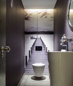 No tiles in the guest bathroom. The small room gets a great depth effect. # Guest toilet - ALL ABOUT Small Toilet Room, Guest Toilet, Downstairs Toilet, Downstairs Cloakroom, Powder Room Decor, Powder Room Design, Powder Rooms, Beautiful Bathrooms, Modern Bathroom