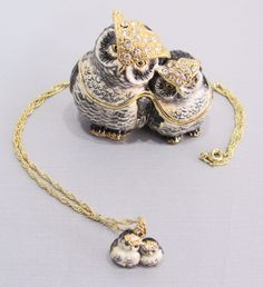 New Trinket Box Gift Painted Swarovski Crystals Smart Owl Bird Animal Necklace