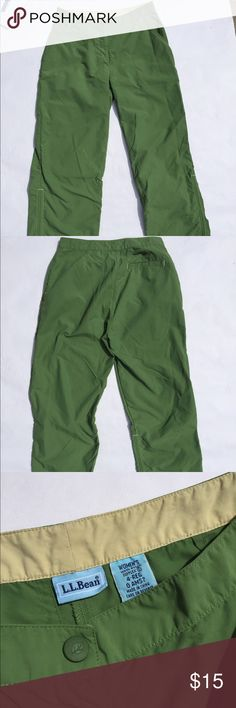 L.L. Bean Capris Bought these for a climbing trip but they are too tight on my waist. Accidentally spilled some bleach on the leg as soon as I tried them on- so slight discoloration on leg. Still be perfect for climbing though! Waist: 27. Length: 33 inches L.L. Bean Pants Capris