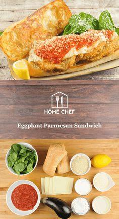 Eggplant Parmesan Sandwich with spinach-lemon salad