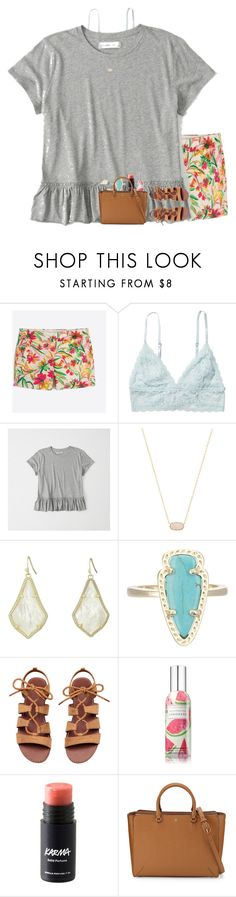 """""""Got shipped to my gmas"""" by livnewell ❤ liked on Polyvore featuring J.Crew, Monki, Abercrombie & Fitch, Kendra Scott and Tory Burch"""