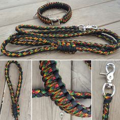 Rasta Themed Paracord Dog 8 Strand Dog Leash and King Cobra Collar by BrodsParacord on Etsy