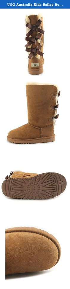 """UGG Australia Kids Bailey Bow Tall Boot Chestnut Size 3 M US Little Kid. Enjoy the charm and comfort of the Bailey Bow Tall boot from UGG® Australia. Twin-faced sheepskin upper with a suede heel guard and back lacing for added appeal. Genuine sheepskin or UGGpureâ""""¢ lining keeps feet and ankles warm and cozy. UGGpureâ""""¢ sock manages moisture to help keep your feet dry. Flexible and durable molded EVA outer sole keeps you stepping in style. Slight dye transfer may occur with darker…"""