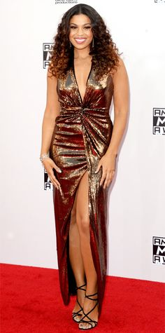Jordin Sparks in Halston Heritage with Dolce & Gabbana shoes and Orit Mesica jewels at AMA 2014