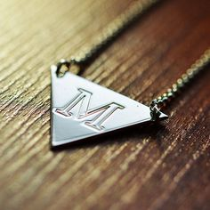 Triangle Pendant Initial Necklace