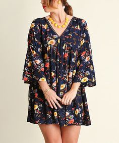 This Navy Floral Peasant Dress - Plus is perfect! #zulilyfinds