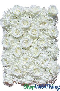Flower Wall 19 x 25 Premium Silk Roses & Hydrangeas Cream Flower Wall Backdrop, Wall Backdrops, Floral Backdrop, White Rose Flower, Hydrangea Flower, White Roses, White Hydrangeas, Flower Wall Wedding, Wedding Flowers
