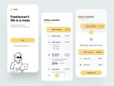 Freelancer Schedule App designed by Lorenzo Perniciaro for Fireart Studio. Connect with them on Dribbble; the global community for designers and creative professionals. App Ui Design, User Interface Design, Flat Design, Design Design, Wireframe Design, Design Layouts, Dashboard Design, Graphic Design, Design Thinking