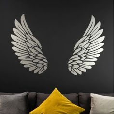 Silver Angel Wings Wall Sticker - Red Candy Source by cshellpaint Creative Wall Painting, Wall Art Painting, Mural Art, Paint Designs, Angel Wings Wall, Wall Drawing, Wall Painting, Wings Art