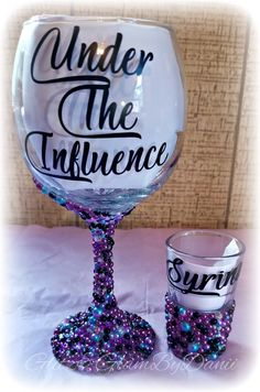 Under The Influence Personalized Wine Glass Birthday Wine Glitter Wine Glasses, Diy Wine Glasses, Decorated Wine Glasses, Painted Wine Glasses, Glitter Wine Bottles, Custom Wine Glasses, Wedding Wine Glasses, Glitter Cups, Wine Glass Crafts