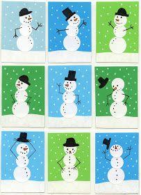Art Projects for Kids: Sticker Snowmen Art Trading Cards
