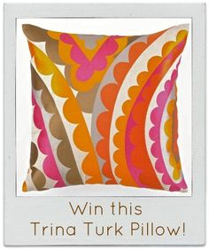 Go to our Facebook page and tell us where you would put this Vivacious Embroidered Pillow by Trina Turk.  We will select 1 winner this Friday, May 25th at 1pm est.  Be Creative!!!