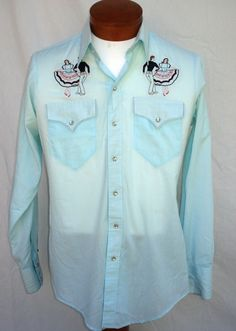 8745993c5 Vintage 60s 70s Embroidered Western Pearl Snap Shirt Ranch Wear Rockmount M  Rockabilly