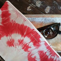 Tracey Tanner long flat zip-top tie dye pouches / at Pod