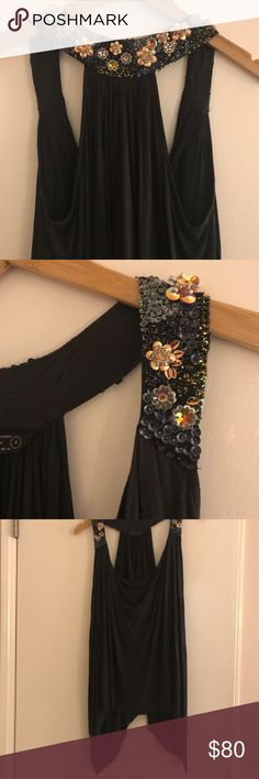 All Saints Flowy Embellished Top Size 4 Us Size 4. Uk 8. Color is a very dark brown. Flowing jersey material. Glittery embellished neck strap. So gorgeous! All Saints Tops Tank Tops