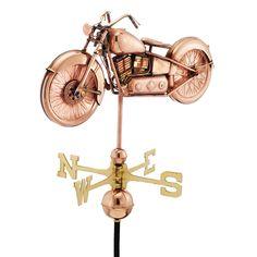 Motorcycle Polished Copper Weathervane
