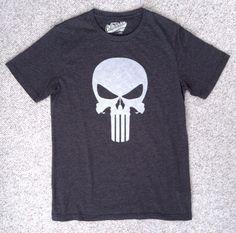 THE PUNISHER T-SHIRT Dark-Charcoal-Gray/White Vtg-Look Skull Logo ADULT SMALL #OldNavy #GraphicTee