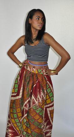 African Print Maxi Skirt Mel Maxi Skirt: Crimson by CHENBURKETTNY