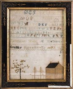 Signed and dated alpha-numeric sampler with home and fenced yard with flowering and pine trees. silk on linen 11 . Primitive Stitchery, Primitive Crafts, Primitive Christmas, Country Christmas, Christmas Christmas, Antique Quilts, Vintage Quilts, Cross Stitch Samplers, Cross Stitch Patterns
