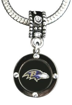 $12.99 Baltimore Ravens Charm with connector fits most large hole bead bracelets. Officially Licensed by the NFL.