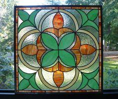 Stained Glass Panel - Fleur de Lis in Orange & Green