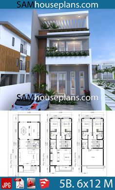 House Plans with 5 Bedrooms - Sam House Plans - Architecture Narrow House Designs, Narrow House Plans, Modern Small House Design, Beach House Plans, Dream House Plans, 3 Storey House Design, Two Story House Design, Duplex House Design, House Front Design