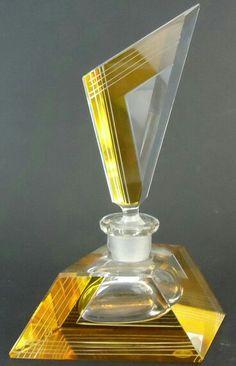 Vtg Art Deco Era Yellow Cut to Clear w Germany Crystal Glass Perfume Bottle