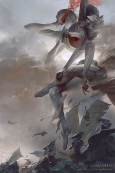 "kubrick-anderson: "" jedavu: "" A surreal series of fantasy paintings based off the eleven aspects of the Kabbalah's Tree of Life Created by Peter Mohrbacher "" I see so much Beksinski in these """
